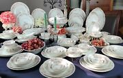 Antique Gda France Limoges 69 Piece Dinnerware Set - Pink Flower And Gray Branches