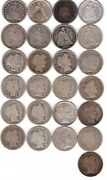25 Silver Dimes - 8 Seated Liberty/17 Barber Head