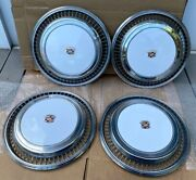 1976 1977 1978 Cadillac Eldorado Hubcap White Set Of 4 Good Shape Vibrant Colors