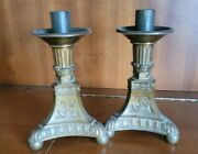 Antique Ornate Brass Religious Altar Candlestick Church Cathedral Candle Holders