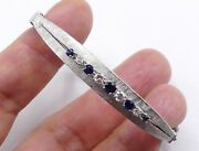 Vintage 70and039s 14k White Gold And Sapphire Diamonds Bangle 15.1 Gram