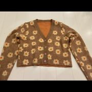 Vintage Floral Daisy Print Orange Brown Cardigan Button Sweater Top S
