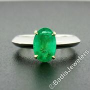 Platinum 18k Gold 1.78ct Elongated Oval Prong Emerald Solitaire Knife Edge Ring