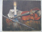 Lucille Fenton Of Oak Lawn Ill C.1960 Oil Painting Violin At Rest
