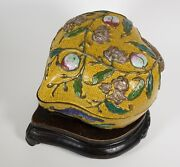 A Chinese Antique Cloisonné Peach Box - Late Qing With Wood Stand Bats Flowers