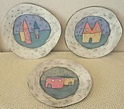Abstract Freeform 10 Ceramic Plates Signed Rao Modernism Decorator Wall Hangers