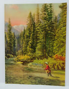 Vintage 50and039s Calendar Embossed Print Men Fishing River Mountain 4303