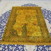 Yilong 4and039x6and039 Gold Tapestry Antique Handmade Silk Rug Home Interior Carpet 067b