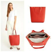 Cuyana Tall Structured Leather Zipper Tote In Blood Orange Brand New With Tags