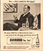 Evervess Sparkling Water With Meerschaum Pipe 1947 Vintage Print Ad