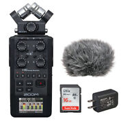 Zoom H6 All Black 6-track Recorder W/ Ac Adapter, 16gb Memory Card And Windbuster