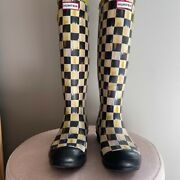 Mackenzie Childs Courtly Check Hunter Rain Boots Size 9 Uk 7 Retired And Rare