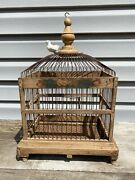 Antique Wood And Metal Victorian Bird Cage With Dome And Tray Hand Painted