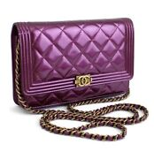 Chain Shoulder Wallet Patent Leather Purple 10109 Free Shipping From Jp