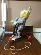 Vintage Antique Childs Pull Along Rabbit Toy On A Metal/tin Bicycle.