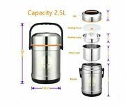 Large Capacity Stainless Steel Vacuum Lunch Box With Thermos Outdoor Camping