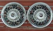 Vintage 1960and039s Chevy Chevrolet 14 Crossed Flags Spoke Hubcap Set Of 2