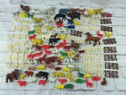 Large Group Lot Of Vintage Retro Plastic Toy Farm Animals Made In Hong Kong