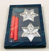 Villeroy And Boch - Starlet 2 X Star Shaped 24 Lead Crystal Candle Holders New