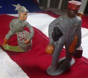 Lot Of 2 Vintage Barclay Antique Toy Lead Figures 41/36 Man With Barrel, Porter