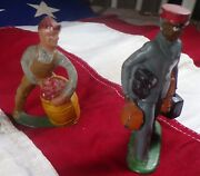 2 Vintage Barclay Toy Lead Figures 41/36 Man W/ Barrel And Porter Great Paint