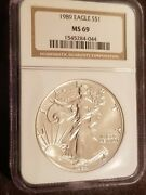 1989 American Silver Eagle Ngc Ms69 Brown Label
