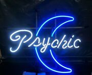 New Psychic Moon Blue Neon Sign 20x16 Light Lamp Bar Decor Collection St308