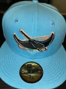 7 1/8 Tampa Bay Devil Rays Teal 20th Anniversary Peach Bottom Fitted Hat