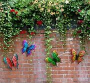 Butterfly Wall Art Metal Hanging Home Patio Fence Indoor Outdoor Decor Set Of 4