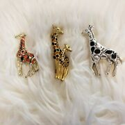 Vintage Lot Of 3 Giraffe Brooches 1 Has Best On Back