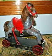 Antique Toy Wooden Horse On Wheels With Red Leather Saddle And Bridle, Human Hair