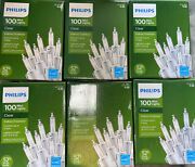 Lot 6 Philips 100 Mini Clear Christmas Lights White Wire Weddings Patio Outdoor
