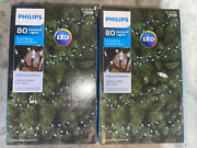 Lot 2 Philips 80ct Led Christmas Smooth Mini Garland String Lights Cool White