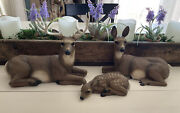 Vtg Homco Whitetail Deer Buck Doe Fawn Set Figurines Home Interiors Statues