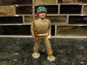 Vintage Barclay Lead Toy Army Soldier Foot Pod Marching Green Helmet Manoil