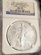 2011 W 1 Burnished Eagle From The 25th Anniversary Set Ngc Ms70 Early Releases