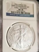 2011 1 Silver Eagle From The 25th Anniversary Set Ngc Ms70 Early Releases