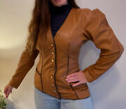 George Gross S Vintage Tailored Puffy Sleeve Tan Brown Button Leather Jacket