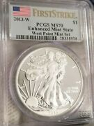 2013-w American Silver Eagle Enhanced Mint State Pcgs Ms70 First Strike Flag