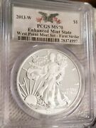 2013-w American Silver Eagle Enhanced Mint State Pcgs Ms70 First Strike