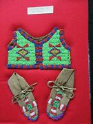 Native American Beaded Childs Leather Vest And Moccasins,  Atl-0421f-387