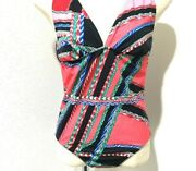 Authentic Hermes Vintage One-piece Swimsuit Size 42 Red