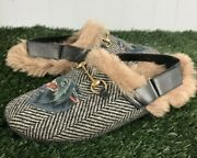 Black Menand039s Fur Herringbone Slippers With Wolf Head Mules/slides Size 11
