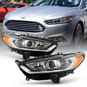 13-16 Ford Fusion Projector Headlight Factory Style Chrome Front Signal Lamp L+r