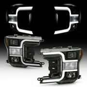 For 18-20 Ford F150 Black Led Neon Tube Halo Drl Projector Headlight Lh+rh Lamp