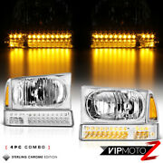 1999-2004 Ford F250 F350 Factory Style Chrome Led Bumper Head Lights Lamps Set