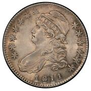 1811 50c Capped Bust Half Dollar Pcgs Au58 Cac, Small 8