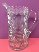 Vintage Heavy Pressed Clear Glass 1.5 Quart Pitcher Etched Floral Scalloped Lip