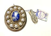 Antique Gorman Gold Filled Cultured Pearl Genuine Lapis Stone Brooch Pin