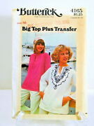 Butterick Pattern 4165 Size 16 Misses' Top Plus Embroidery Transfer